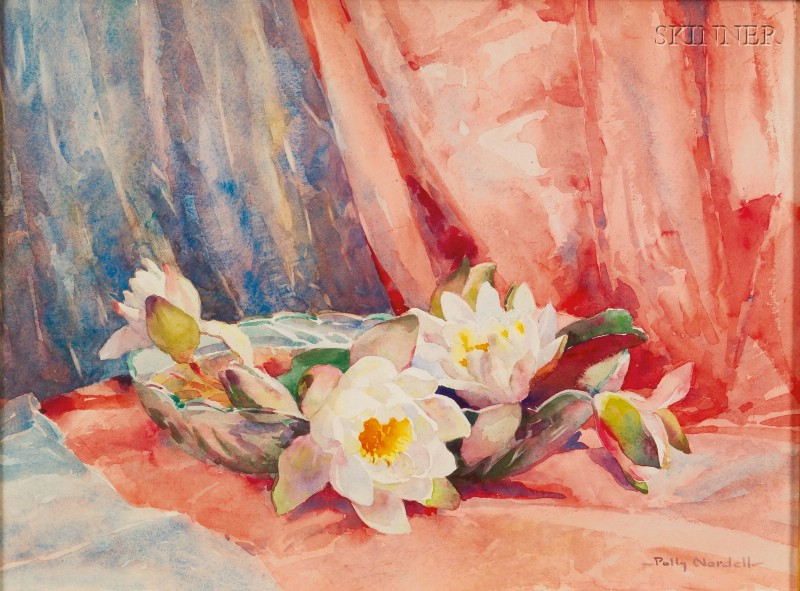 Emma Alice (Polly) Parker Nordell  (American, 1876-1956)      Waterlilies in a Low Bowl