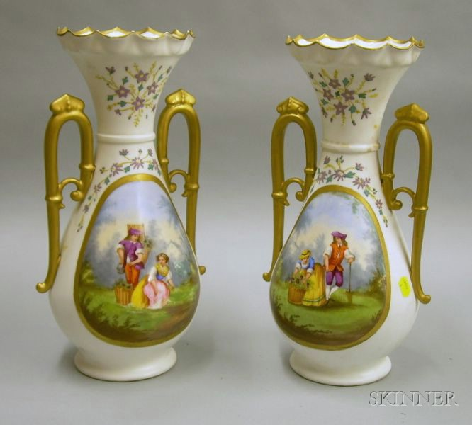 Pair of Late Victorian Hand-painted Genre Scene and Floral Decorated Porcelain   Vases