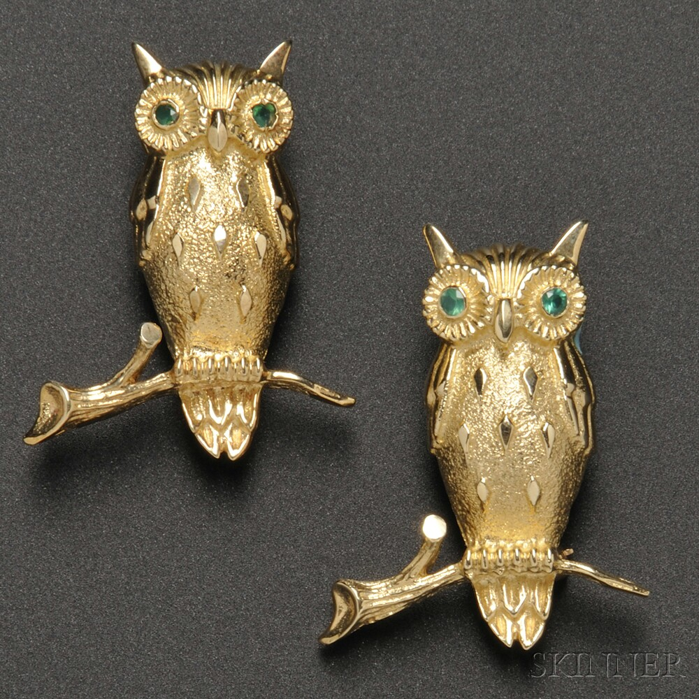 Pair of 14kt Gold Gem-set Owl Brooches