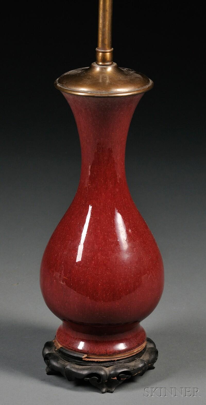 Sang de Boeuf Vase Mounted as Lamp Base