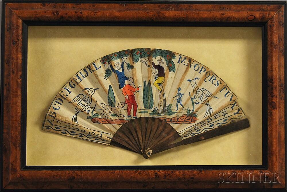 Framed Early Paper Fan