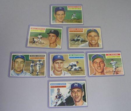 Seven 1956 Topps Baseball Cards