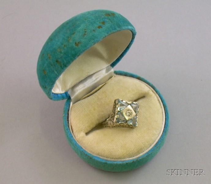 Art Deco 14kt White Gold Fancy-cut Light Blue Stone and Diamond Ring