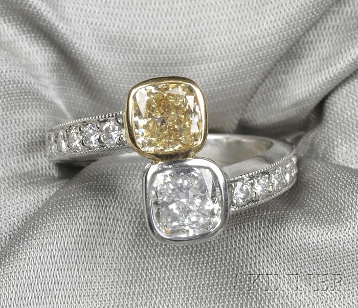 Platinum, 18kt Gold, Fancy Yellow Diamond, and Diamond Bypass Ring