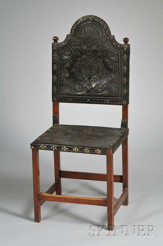 Mahogany and Tooled Leather Upholstered Side Chair