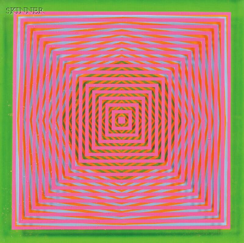 American School, 20th Century      Untitled [Orange, Blue, Pink, Green] / An Op-Art Composition