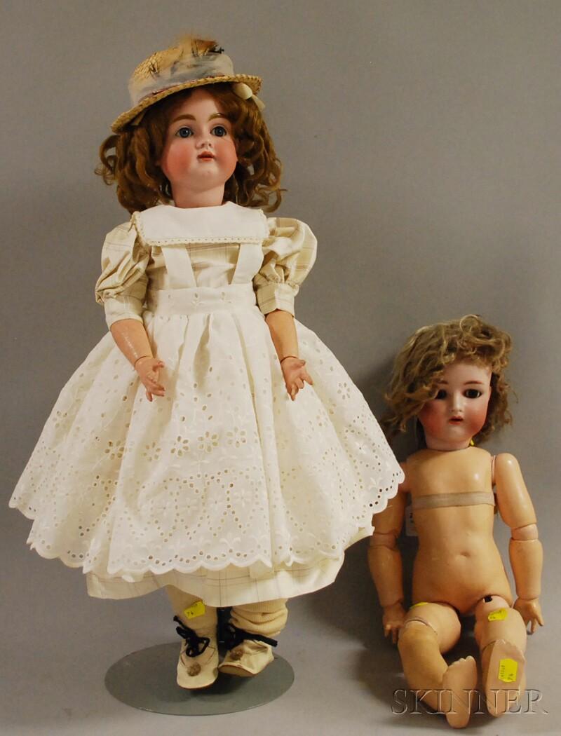 Two German Bisque Socket Head Dolls