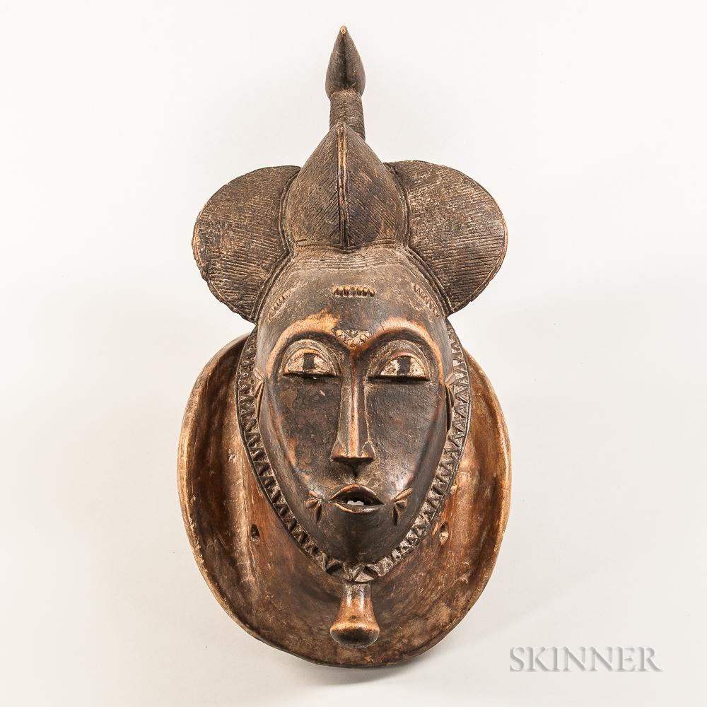 Baule-style Carved Wood Portrait Mask