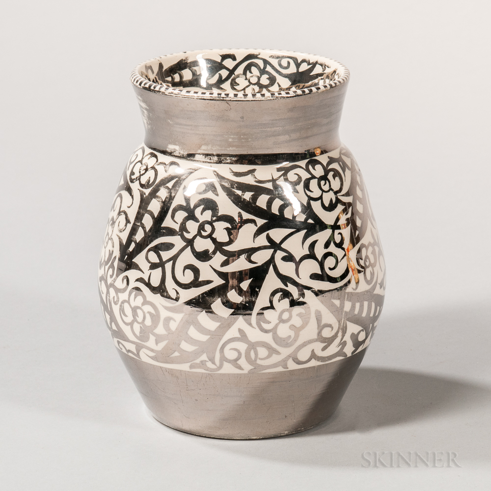 Wedgwood Louise Powell Decorated Silver Lustre Vase