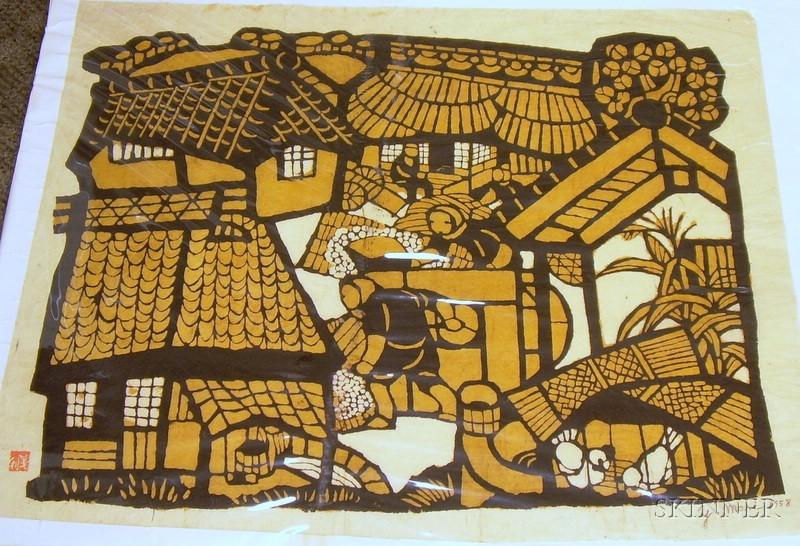 Unframed Woodblock Print of Village Scene by Yoshitoshi Mori   (Japanese, 1898-1992)