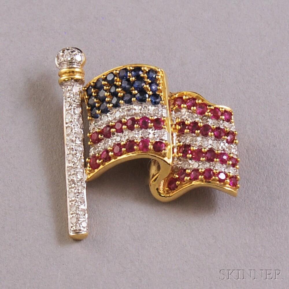 18kt Gold Gem-set American Flag Brooch