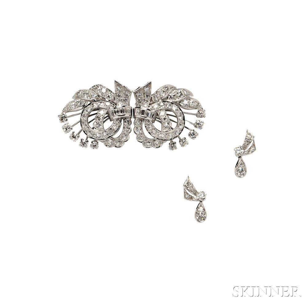 Platinum and Diamond Dress Clips and Earclips