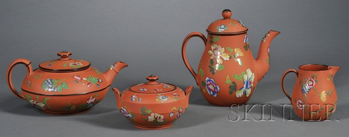 Wedgwood Enameled Rosso Antico Four-Piece Tea Set
