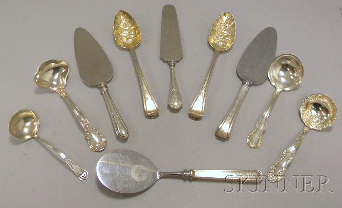 Eight Silver Ladles and Serving Pieces