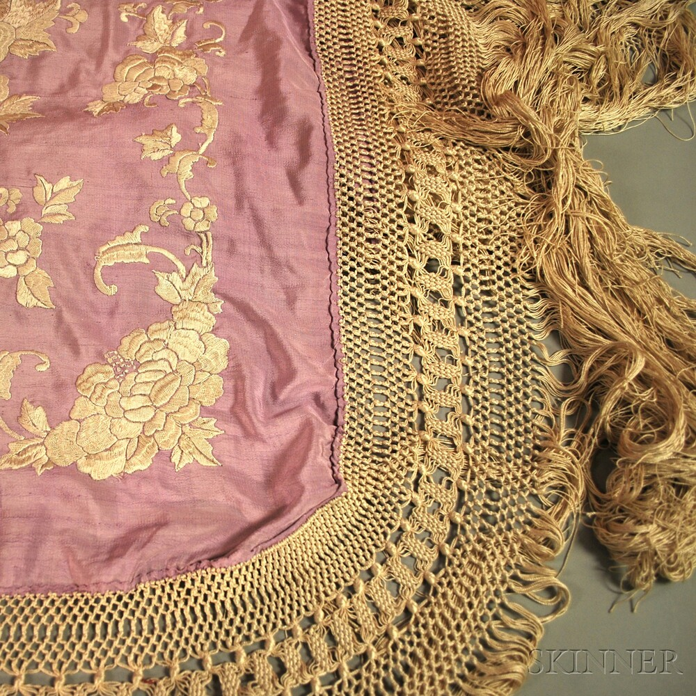 Three Fringed Embroidered Piano Shawls