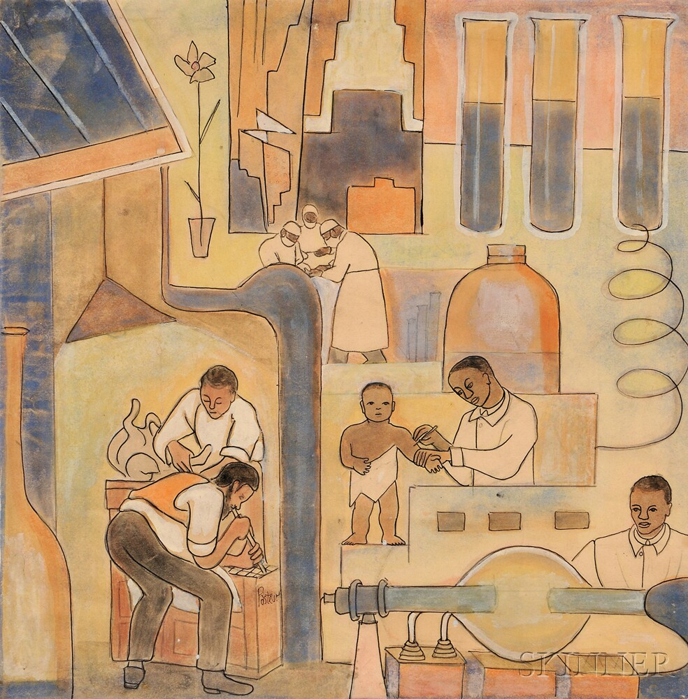 Thelma Johnson Streat (African American, 1911-1959)      Medicine Drawing, A Mural Study