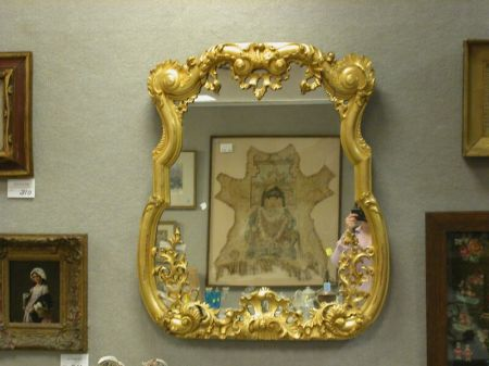 Continental Rococo-style Giltwood Mirror,