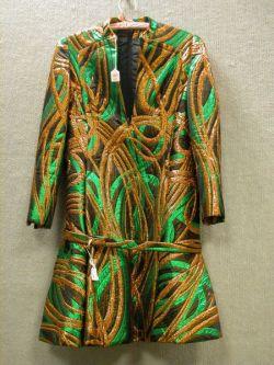 1980s Galanos Green and Orange Metallic Brocade Belted Dress.