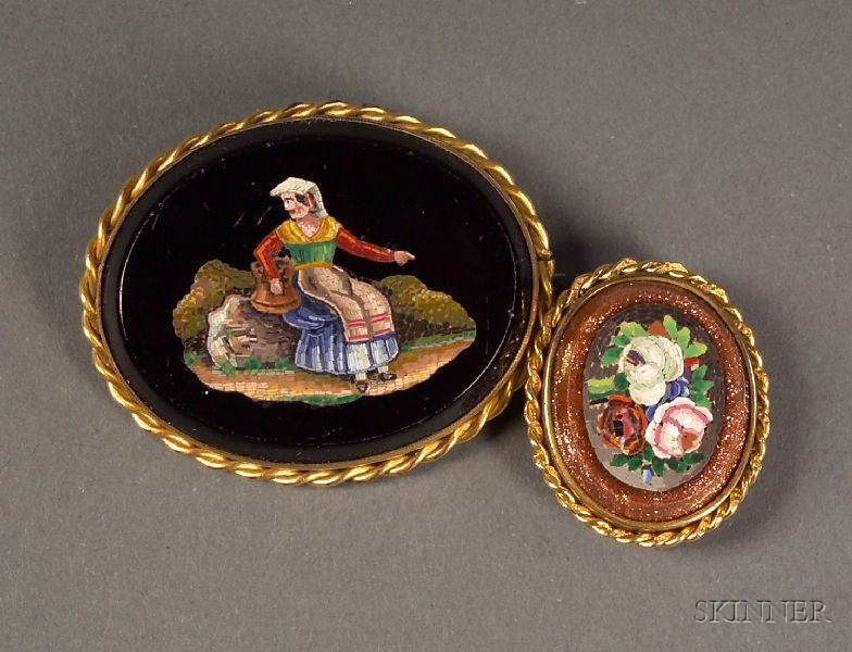 Two Italian Micromosaic Brooches