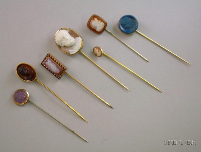 Seven Carved Hardstone or Glass Cameo Stickpins