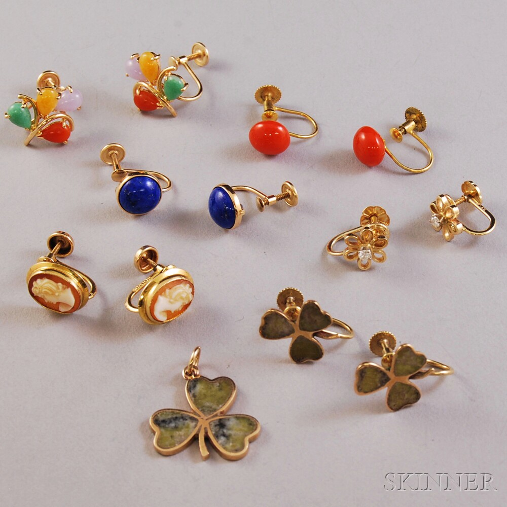 Group of Gold, Gem-set, and Hardstone Jewelry