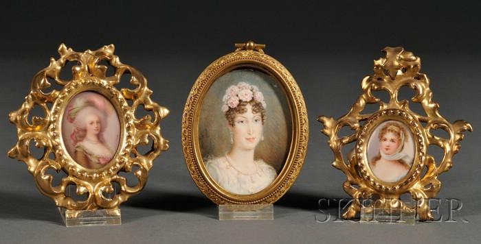 Three Portrait Miniature of Royal Ladies