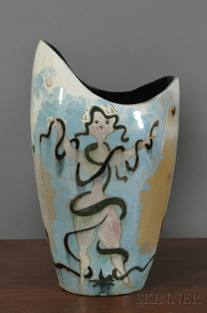 Adolph Dehn for Stonelain Pottery Vase, Retailed by Associated American Artists