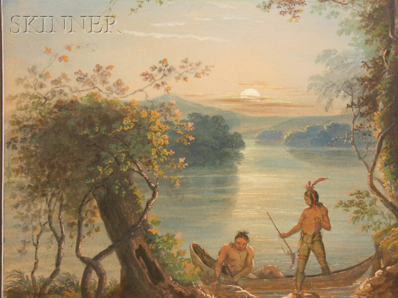 Antonion Zeno Shindler (American, 1813-1899)      Native Americans in a River Landscape, Sunset