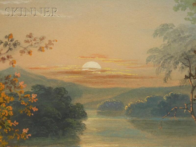Antonion Zeno Shindler (American, 1813-1899)      Native Americans in a River Landscape, Sunset