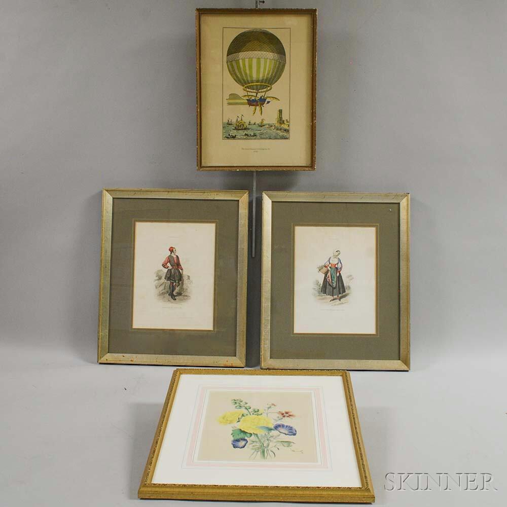 Four Framed European Color Lithographs