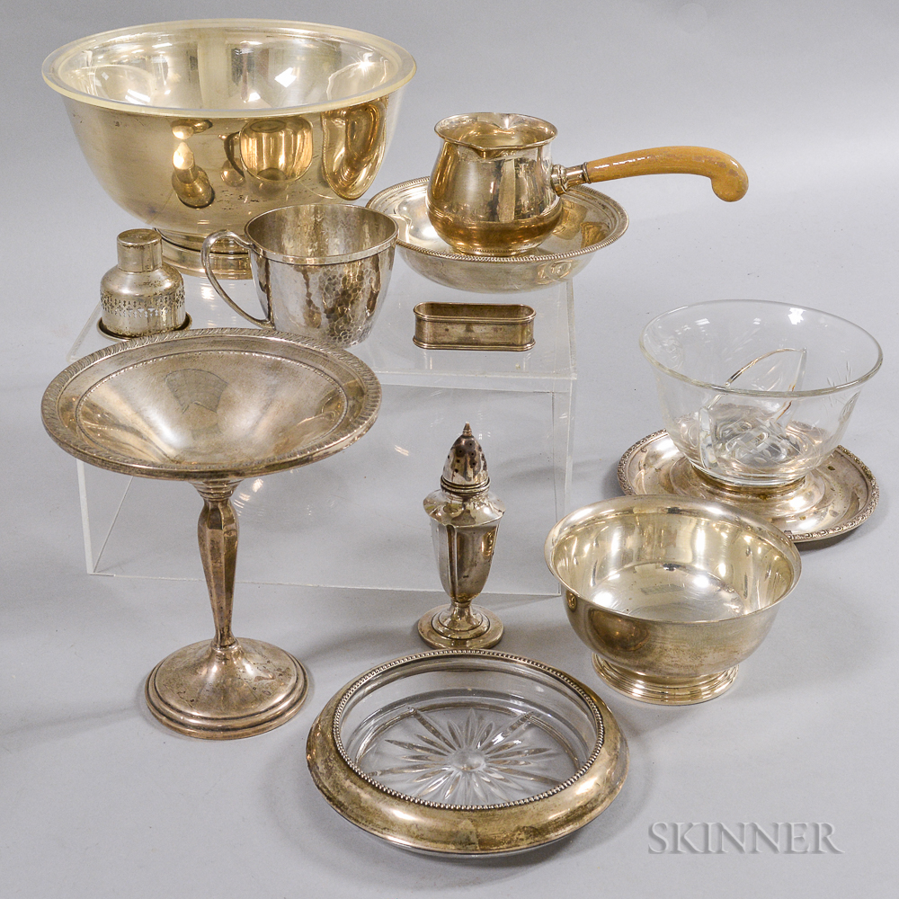 Group of Sterling Silver and Glass Tableware