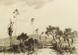 George Elbert Burr (American, 1859-1939)  Lot of Two Landscapes:  Road in Campagnia - Rome
