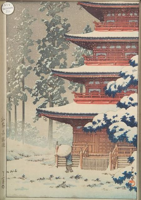 Hasui: Temple in Snow