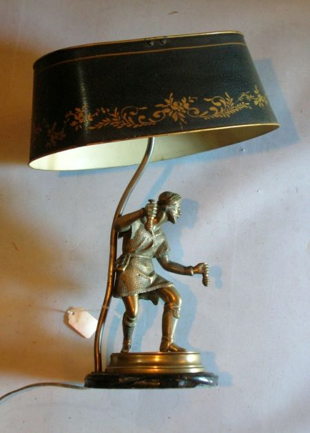 Continental-style Bronze Figural Table Lamp with Painted Metal Shade.