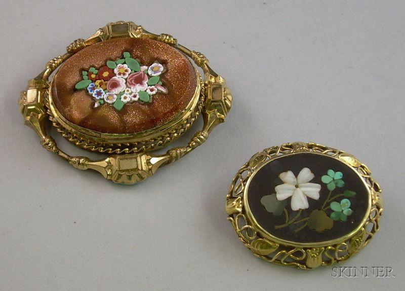 14kt Gold Framed Pietra Dura Floral Brooch