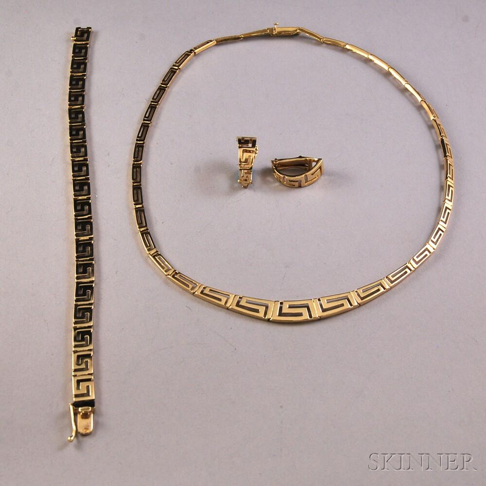 Assembled 14kt Gold Greek Key Suite
