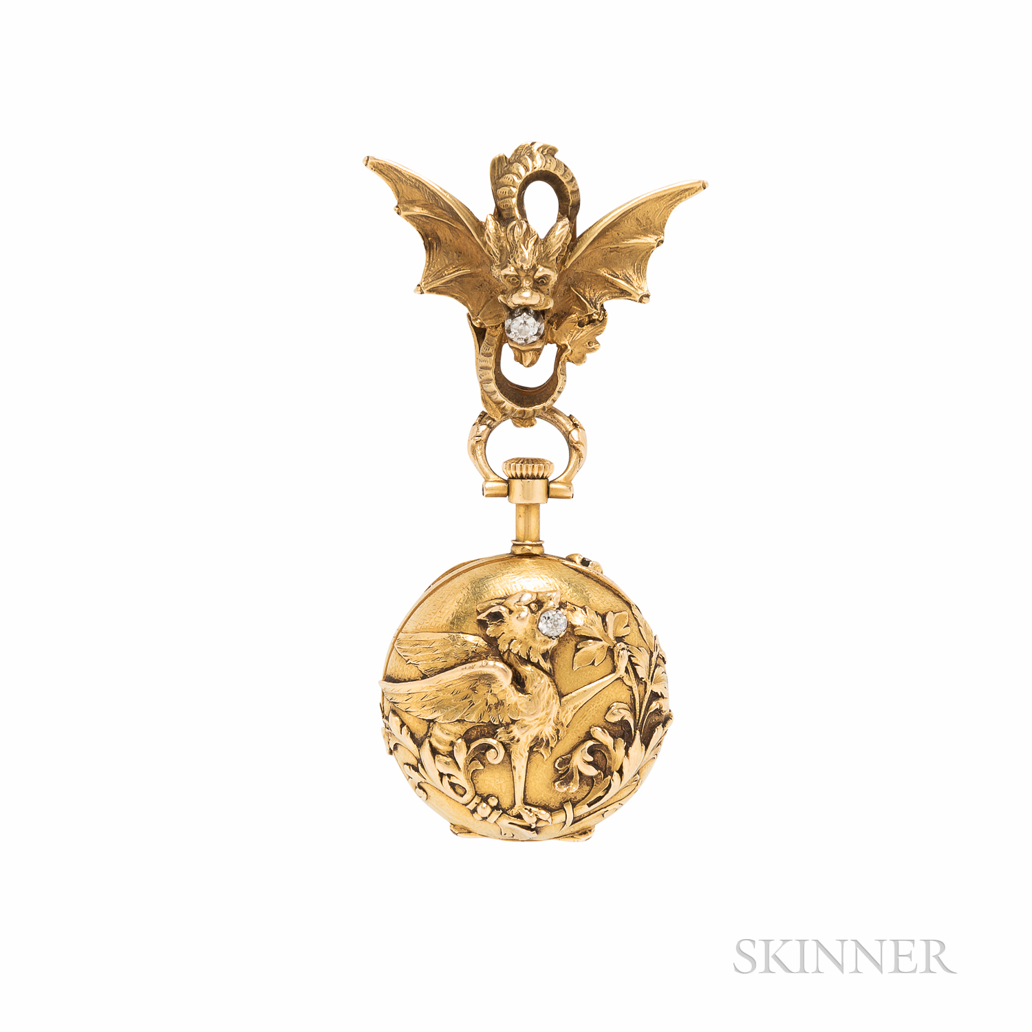 Antique 18kt Gold and Diamond Open-face Pendant Watch