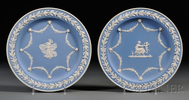 Pair of Wedgwood Light Blue Jasper Dip Plates