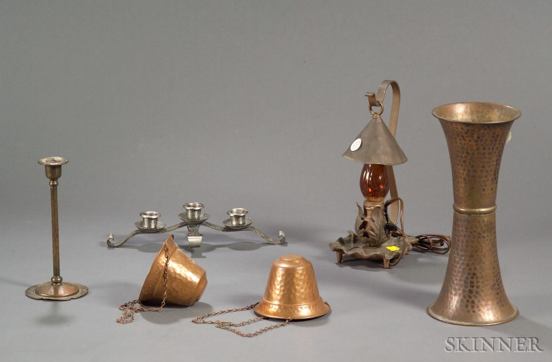 Hammered Roycroft Metalwork Copper Candlestick and Candelabrum and Four   Other Metal Items