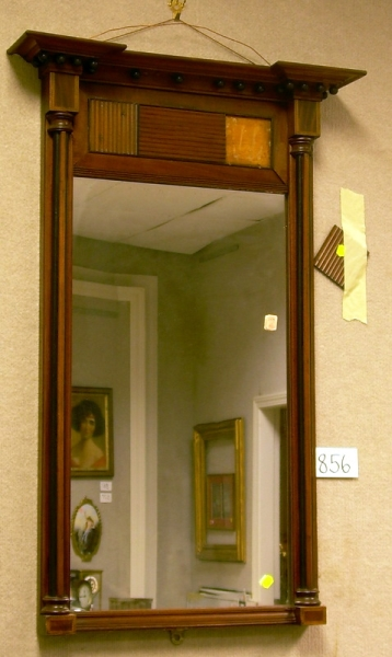 Federal Partial-ebonized Inlaid Mahogany and Mahogany Veneer Tabernacle Mirror