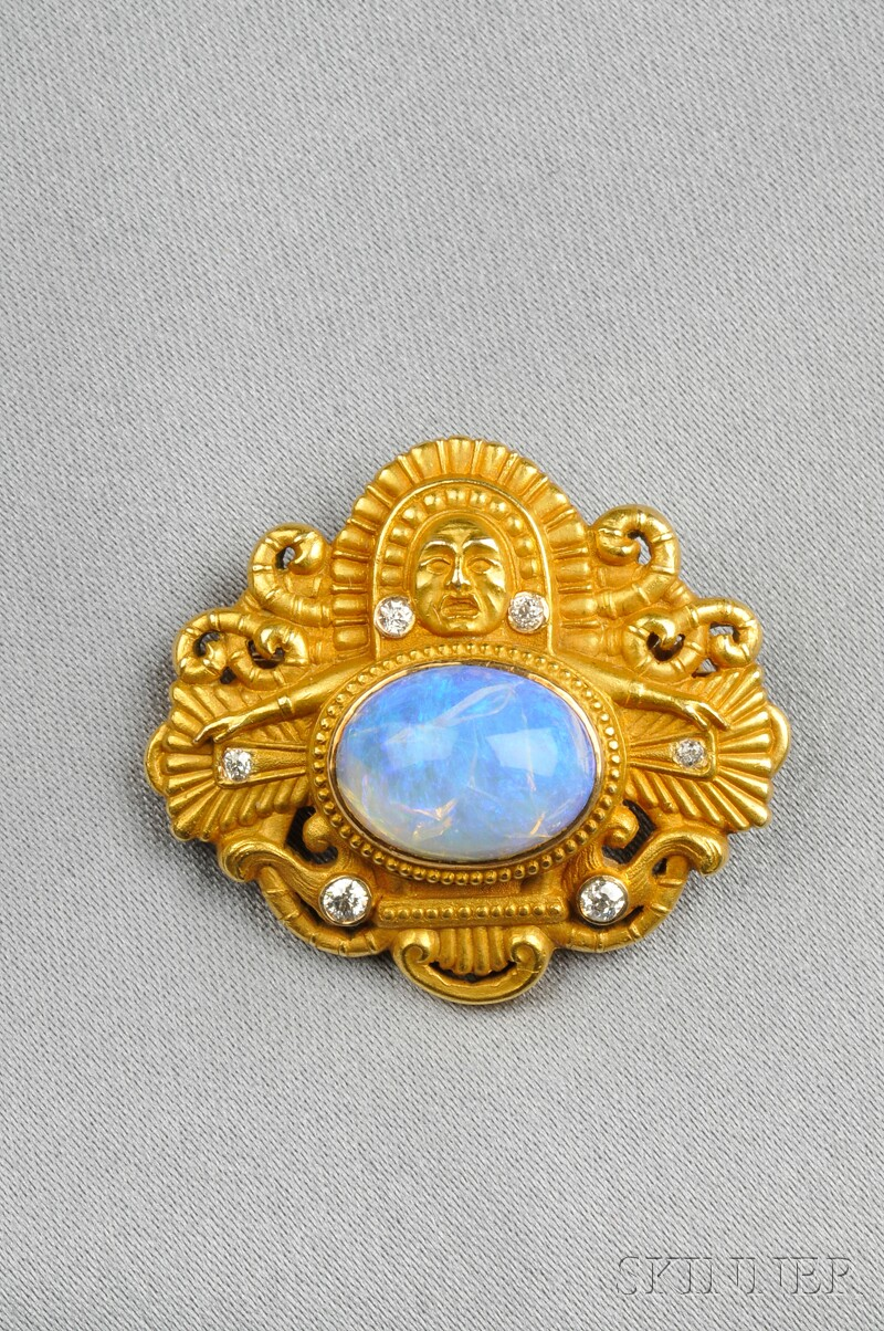Art Nouveau Mesoamerican-style 14kt Gold, Opal, and Diamond Brooch