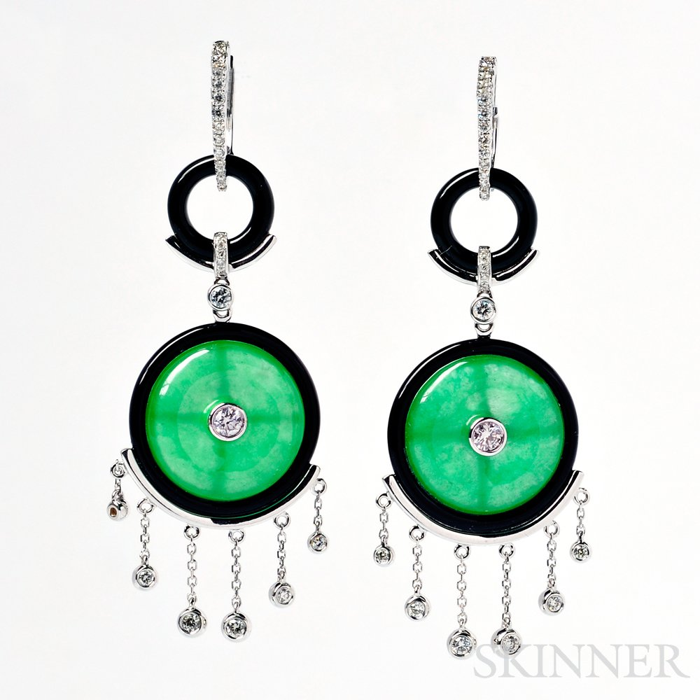 18kt White Gold, Jade, and Diamond Earpendants