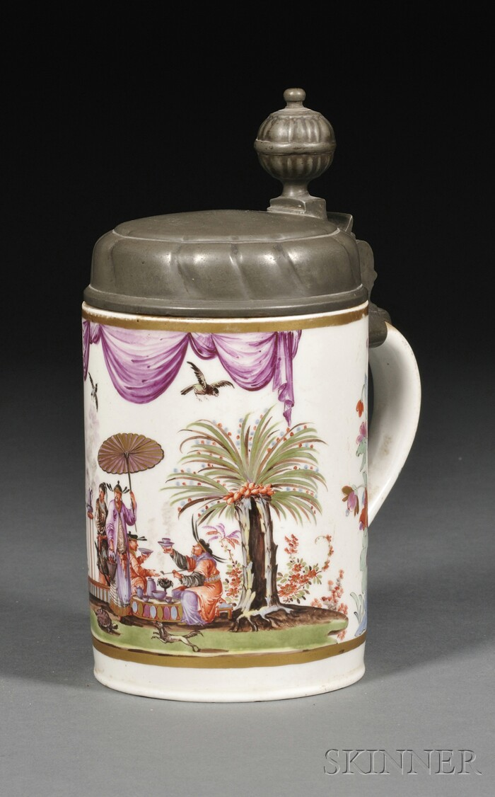 Dresden Porcelain Chinoiserie Decorated and Pewter-mounted Stein
