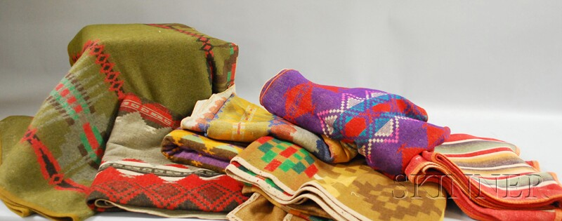 Seven Vintage Woven Wool Indian Trade Blankets