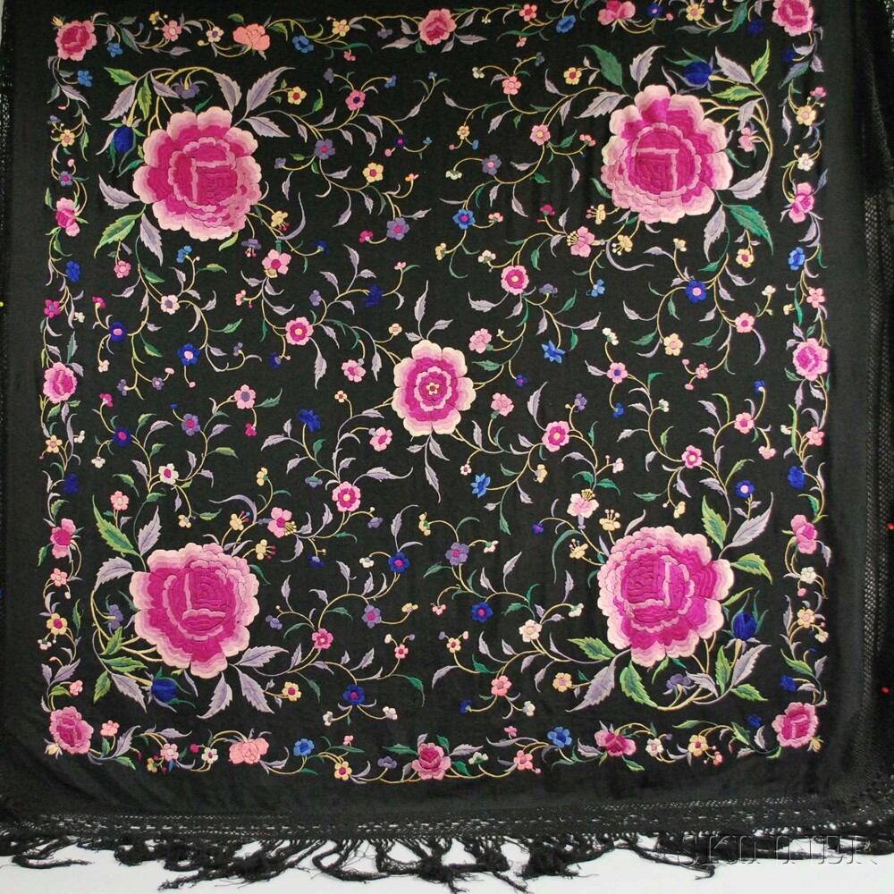 Three Chinese Black Fringed Piano Shawls with Polychrome Embroidery