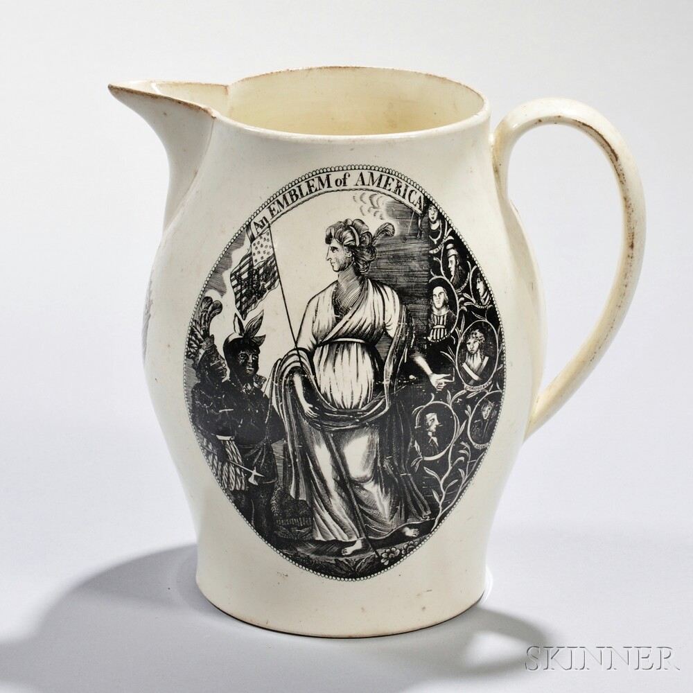 Transfer-decorated Liverpool Pottery Creamware Pitcher