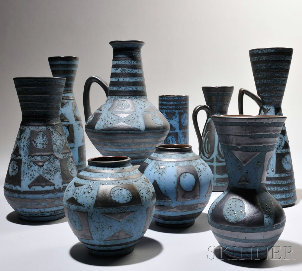 Nine Pieces of Carstens Tonnieshof Art Pottery
