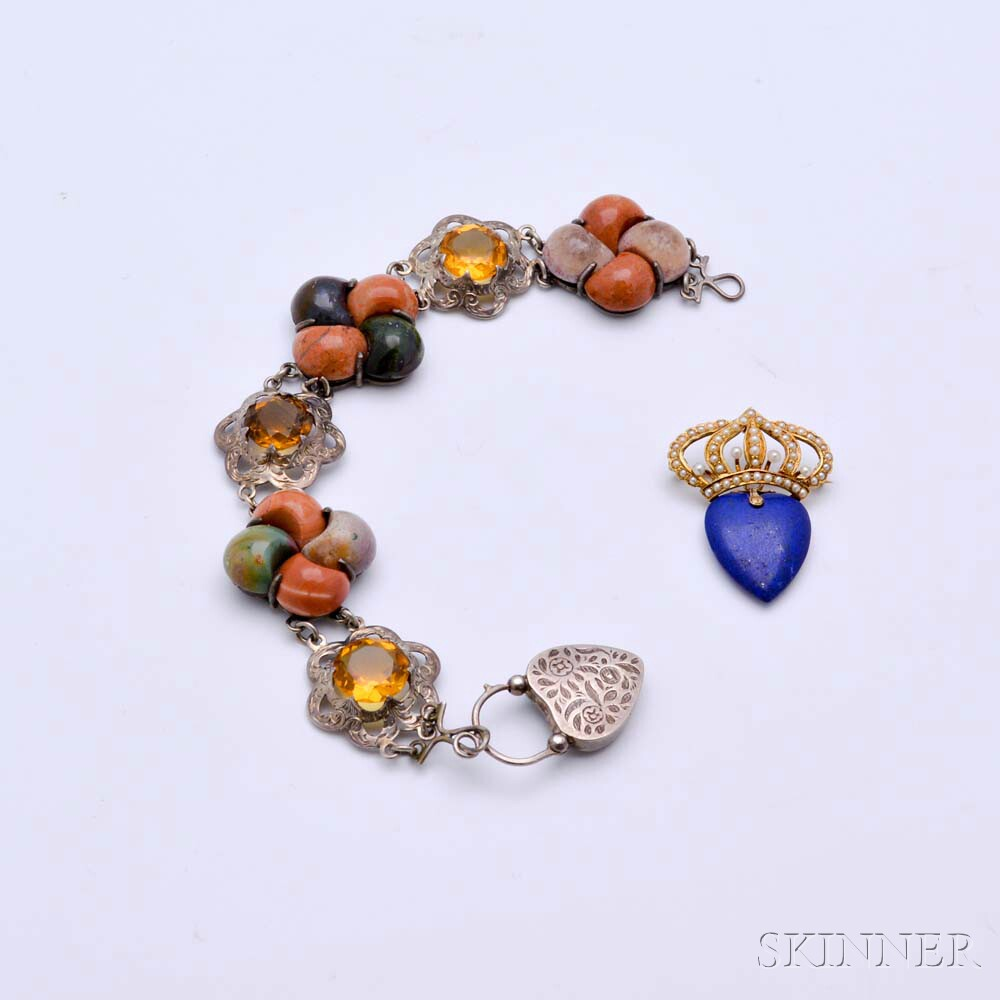 Sterling Silver, Scottish Agate, and Citrine Bracelet and a 14kt Gold, Lapis, and Seed Pearl Crown Brooch