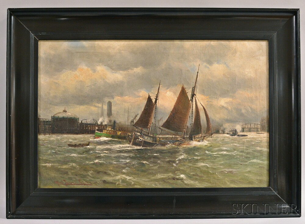 Alfred Jansen Prof (Germany, 1859-1935)       Bustling Harbor Scene.