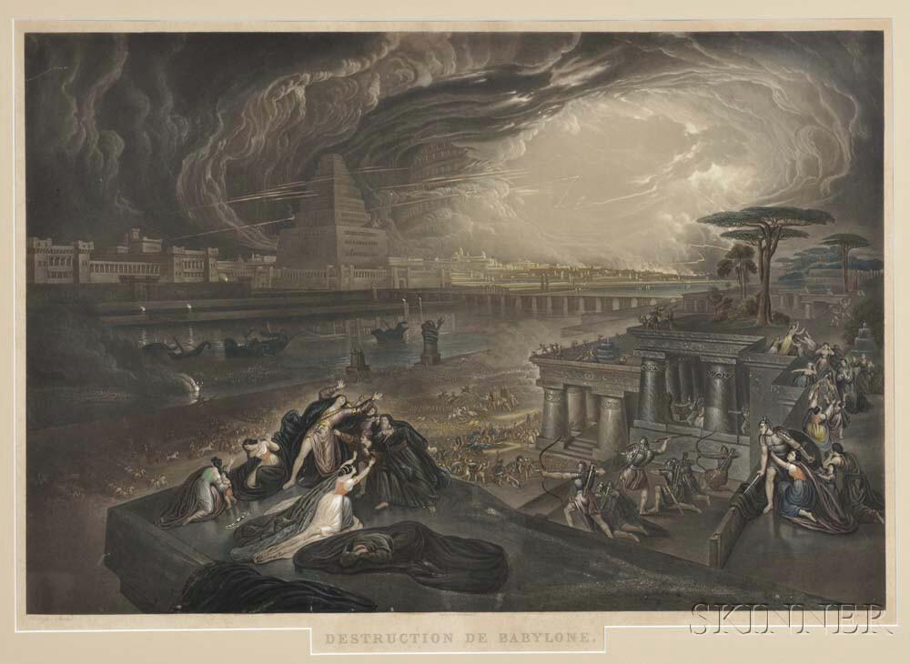 After John Martin (British, 1789-1850)    Two Framed Colored Mezzotints: Destruction de Babylone